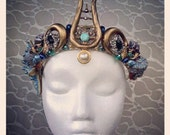 QUEEN DELUXE Mermaid Crown - replica from ONCE Upon A Time and Enchantacon - real shells, starfish, freshwater pearls, gem stones, blue