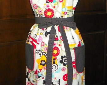 Vintage  Lucy Bib Apron Bright Colorful Sew Now Sew Wow