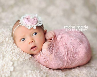Your Grace- single light pink rosette with ivory lace headband