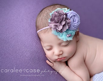 Out for the Day-- plum aqua lavender and mint sea green rosette and chiffon headband