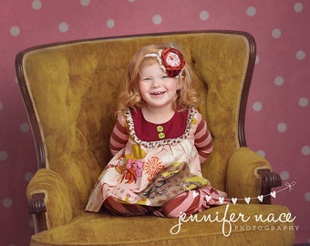 Sarah by Day- singed satin, rosette and chiffon flower headband M2M Persnickety Autumn Splendor