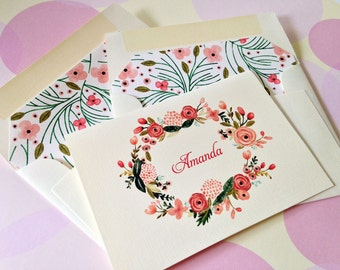 Personalized Stationery Note Cards, Set of 10