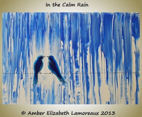 Fine Art Giclee Print of Original Painting In the Calm Rain Amber Elizabeth Lamoreaux Lovebirds Birds on a Wire Blue Rainy Romance