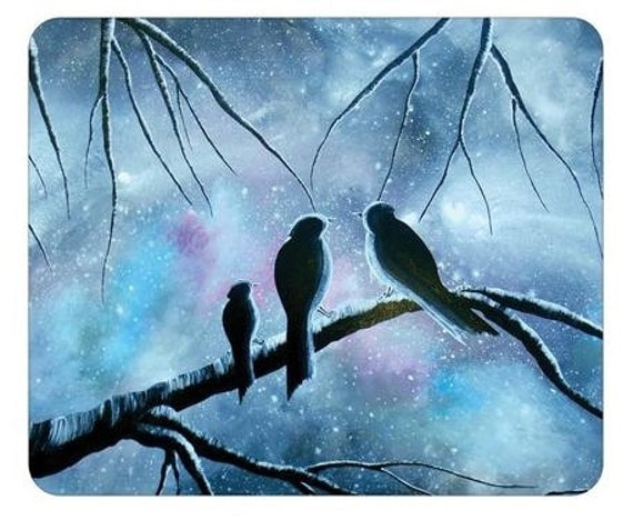 Mousepad Mouse Pad Fine Art Painting Once Upon a Misty Morning Birds Sky Stars Starry Bird Family Gray Grey Pink Purple Turquoise Aqua Love