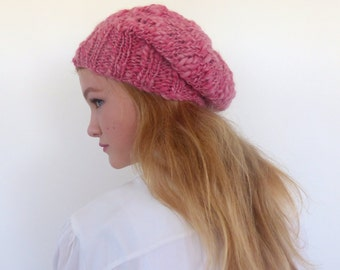 Chunky knit hat -  Slouchy Beanie -  Pink Knit Hat - Knit slouch hat - Women hat - Winter hat
