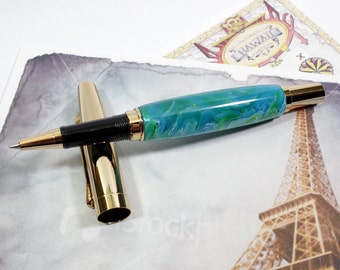 Ocean Mist Acrylic Anaheim Style Rollerball Pen with 24K Gold Accents and Sleeve (Gift Ready)