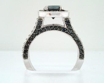 Fancy Black Diamond Engagement Ring 14k White Gold 2.00 Carat Halo Certified HandMade Pave Set