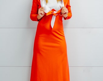Vintage 70's Maxi Dress with Hooded Jacket. 2 Piece set in Orange and White.
