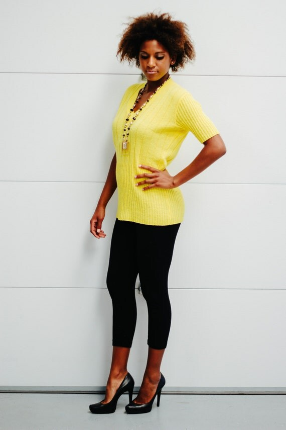 Vintage Yellow V Neck Sweater Le Roy Knitwear