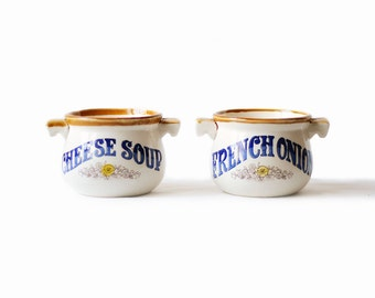 Vintage Soup Bowls | Mugs | Handles | Blue and Brown | French Onion | Cheese