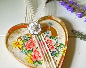 Decoupage Ornament, Heart Shaped,Vintage Papers Glitter Buttons, Door Hanger, Hostess Gift