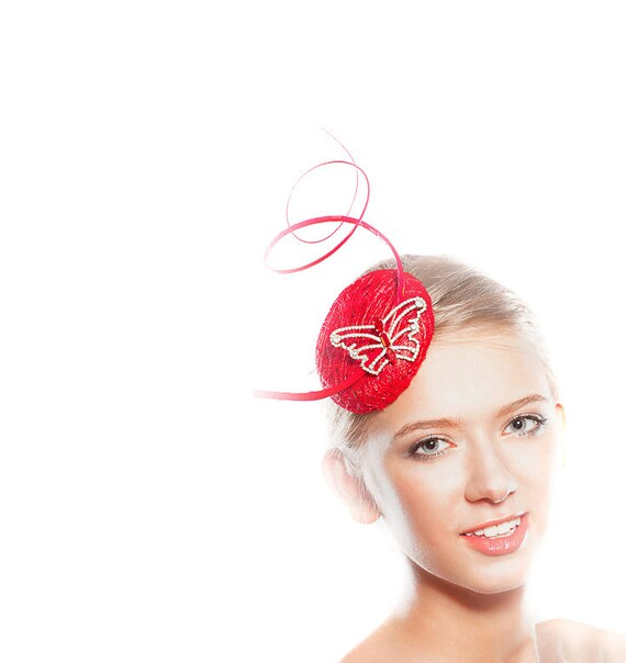 Red Fascinator Party Accessory - Gift Bag - Ladies Hats - Butterfly Headpiece - Straw Mini Cocktail Hat -   Races Swarovski Rhinestones
