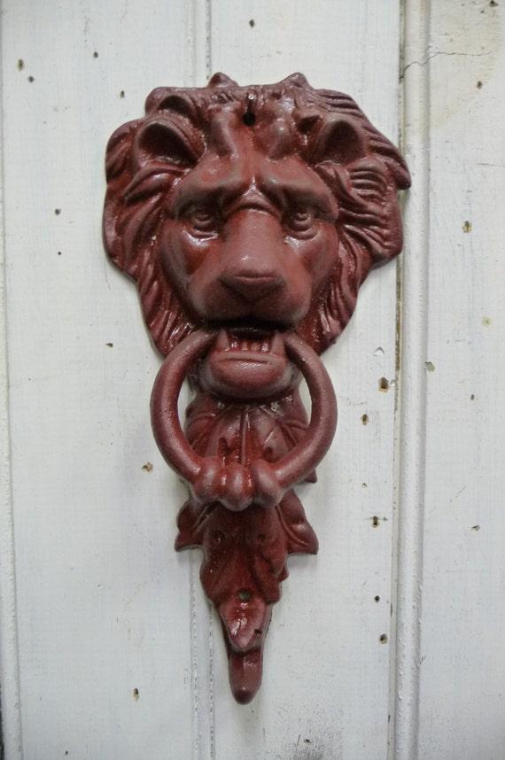 Lion Door Knocker With Hook Cast Iron Metal Rustic Deep Red