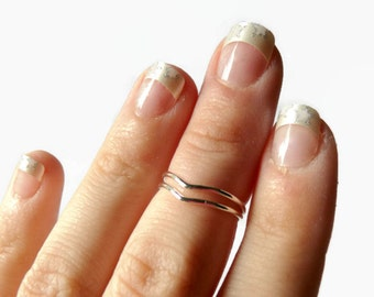 Sterling silver chevron knuckle ring set double chevron ring first knuckle ring Silver mid knuckle ring upper knuckle above the knuckle ring