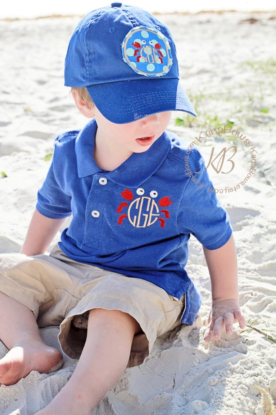 Polo shirt monogram crab church toddler boy polo youth for Toddler boys polo shirts