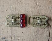 Antique Art Deco Czech glass belt bucklet ∙ 1930s Czech glass