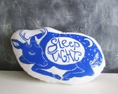Sleeping Deer Pillow. Hand Block Printed. Large 18 inches. Pick your colors. Sleep Tight.