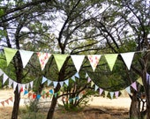 Fabric Bunting Garland Flags Sage White Dots, Mint White Stripes, and Tangerine Fuchsia Leaves for baby nursery, children, home decor banner