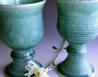 Handmade set of wine goblets in white crackle or blue crackle, Stoneware wine goblets