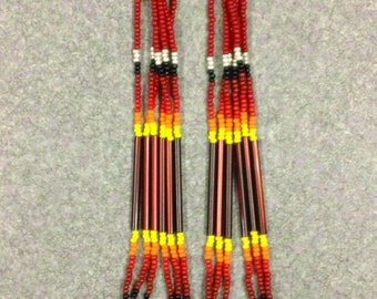 "Native American Style 7"" Long Red Beaded Earrings"