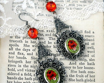 Tuscan Olive Grove, Vintage Apple Green Floral Italian Micro Mosaic with Silver Filigree, Rich Orange Rhinestone Assemblage Earrings