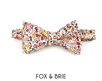 Blush Floral Bow Tie