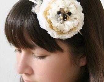 Ivory, Black and Gold Floral Headband, Bride Headband, Floral Headpiece, Vintage Wedding Hair Piece, Flower Girl Hairband, Large Hair Flower