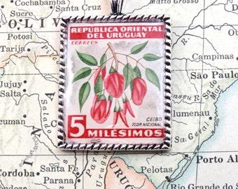 Vintage Uruguay National Flower Ceibo Postage Stamp Necklace Pendant Key Ring