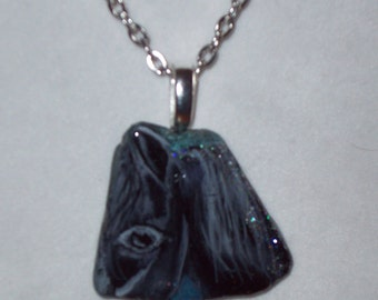 Horse Necklace, Hand Painted Sea Glass, Black Horse Necklace
