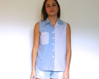 90s Blue White Colorblock Striped Button Up Camp Tank xs s