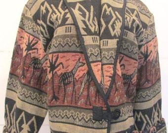 1980's Safari Print Jacket / Tapestry / African Print / Coat
