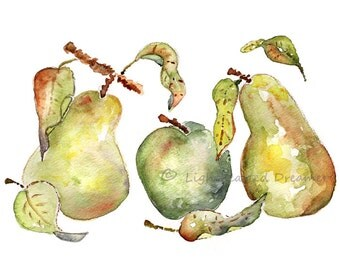 Green Kitchen Wall Art. Apple Pear Watercolor. Kitchen watercolor Art Print. Olive kitchen Decor. Art for Kitchen. fruit watercolor
