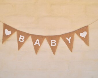BABY Hessian Nursery Baby Children Celebration  New Baby shower Party Banner Garland Bunting Decoration rustic country shabby chic