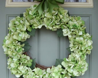 Summer Wreath - XL Summer Hydrangea Wreath - Summer Door Wreath