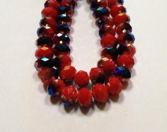 Valentine Drama - Red Velvet and Purple - Faceted Czech Crystal Rondelle Beads - 12mm - 10 beads