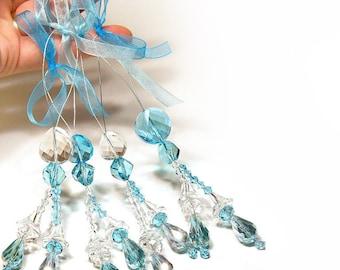 ONE last left, Holiday Decor, Christmas Ornament Decoration, One Swarovski Crystal Suncatcher, Ocean Wave Clear & Aqua Blue, Home Decor