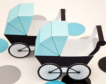 Baby Carriage Favor Box - Light Turquoise & Black : Print at Home Full-Color Template | Pram | Baby Buggy | Digital File | Instant Download