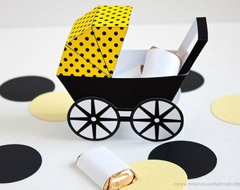 Modern Baby Carriage Favor Box - Yellow & Black : DIY Printable Baby Buggy Gift Box | Pram | Bee | Baby Shower Favor - Instant Download