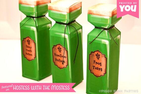 Potion Bottle Favor Box : DIY Printable Magical Spell PDF - Instant Download