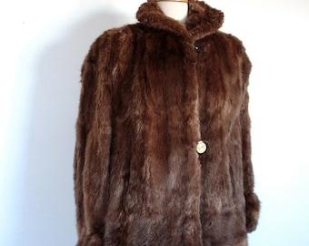 Vintage 1940's Fur Coat // 40s 50s Brown Mink Coat with Golden Glitter Button
