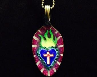 Mardi Gras - Sacred Heart - spoon necklace