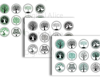 TREE of LIFE ENGRAVING Craft Circles -  Instant Download Digital Printable  -Bottlecaps,tags,cupcake toppers,Collage Sheet -  DiY