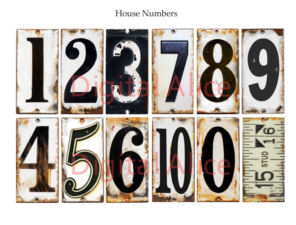 Old VINTAGE METAL NUMBERS Industrial House Numbers Instant