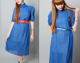 SALE Vintage // Size L // 1980's Sheer Cobalt Blue Dress - Capped Sleeves - Striped