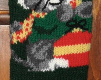 Hand Knitted Personalized Kitten Christmas Stocking