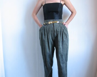 NIKOTA High Waisted Pleated Brown-Bag Belt Loop Dark-Grey Tapered Pant
