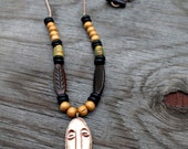 Mens Necklace, Mens Jewelry, African Necklace, African Mask Necklace, Mens Tribal Necklace, Cameroon African Tribal Mask Pendant Necklace