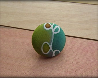 Covered Button Brooch Pin in Turquoise Green Hand Painted Silk