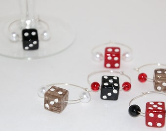 Dice Wine Glass Charms Set of 6