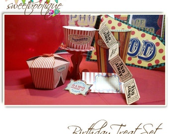 Vintage Fair, Fete, Carnival or Circus Treats Set - Printable - Customised - Downloadable